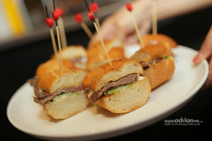 Enjoy these mini steak burgers during happy hour when visiting for drinks.